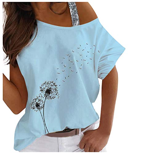 Camiseta informal de manga corta para mujer, con hombros descubiertos, para verano, túnica, informal, cuello redondo, deportiva, con un hombro, sexy, elegante azul M