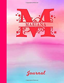 Mariana: Blank Journal - Personalized First Name & Letter Initial Personal Writing Diary   Glossy Pink & Blue Watercolor E...