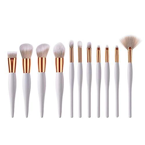 Ensemble de pinceaux mixtes 11Pinceaux de maquillage blancs Foundation Brush Face Powder Blush Concealer Ombre à paupières Maquillage Brush Set, Non-Irritating Material Face Eye Makeup Brush Kit Tool