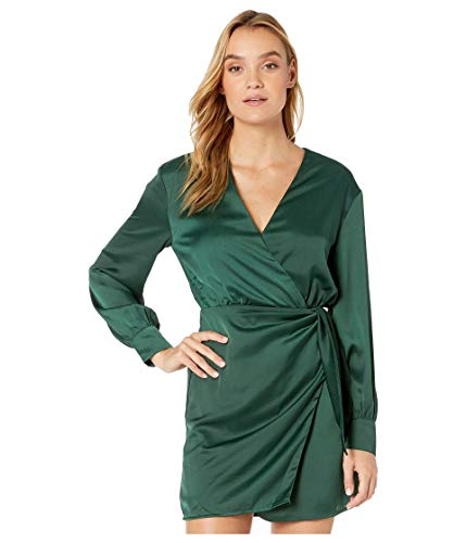 ASTR the label Women's Adelaide Longsleeve Crossover Wrap Cocktail Dress, Hunter Green, L
