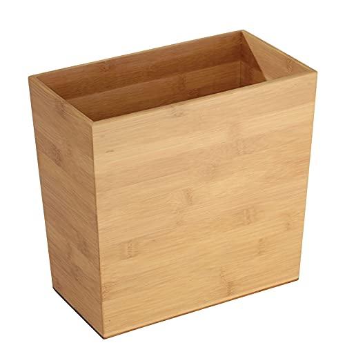 mDesign Papelera de bambu rectangular – Perfecta papelera de oficina o para la habitación en robusto plástico – Con diseño moderno, ideal para cocina, baño u oficina – bambu