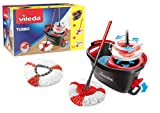 Vileda Easy Wring & Clean TURBO Set Complet Pack Special Seau rotatif + Balai + 2 têtes microfibres incluses
