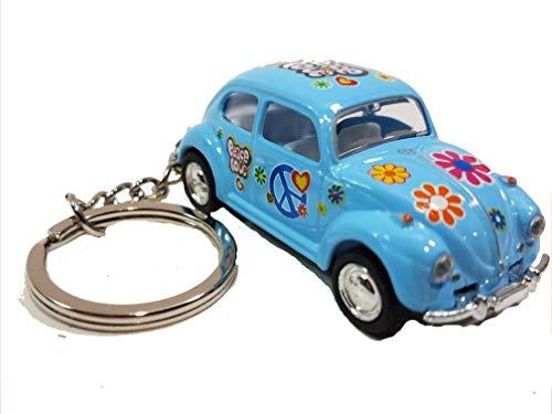 Kinsmart Blue Classic Love & Peace VW Volkswagen Hippie Beetle Keychain 1/64 Pastel Color Diecast Car