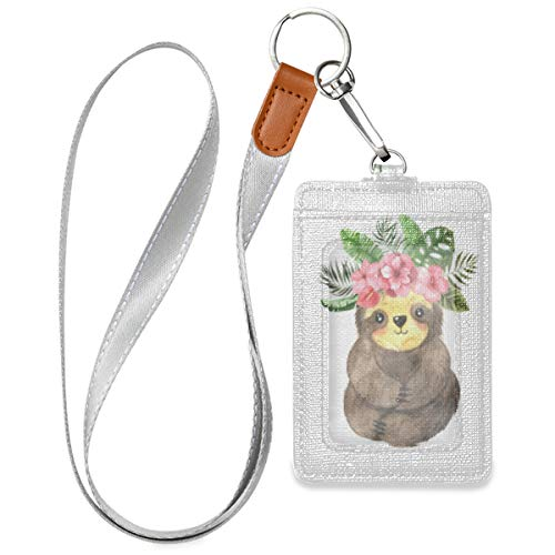 Watercolor Sloth Badge Holder Vertical PU Leather ID Card Holders with Lanyard