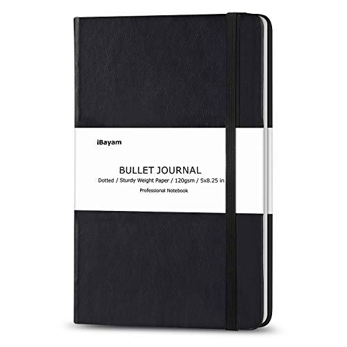 Dotted Bullet Grid Journal, Dot Grid Hard Cover Notebook, 120gsm Premium Thick Paper with Fine Inner Pocket for School & Office Supplies