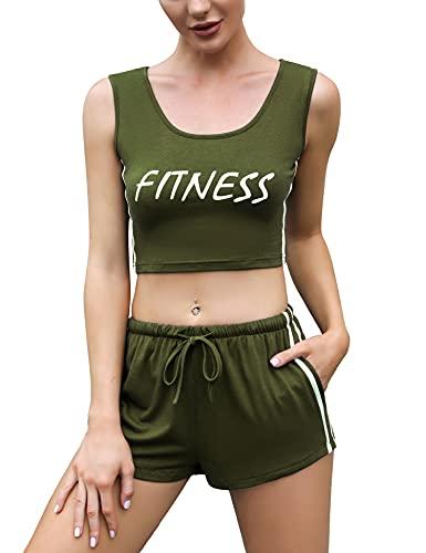 Sykooria Tuta Sportiva Donna 2 Pezzi Completo Ginnastica Senza Manich Crop Top a Pantaloncini Casual Yoga Verde M