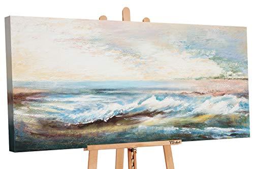 YS-Art | Cuadro Pintado a Mano Paisaje Marina | Cuadro Moderno acrilico | 130x70 cm | Lienzo Pintado a Mano | Cuadros Dormitories | unico | De Color Beige