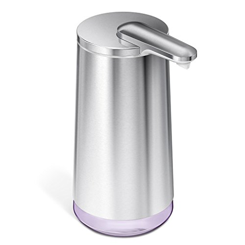 simplehuman Touch-Free Automatic Foam Cartridge Sensor Soap Pump With Lavender Foam Soap Cartridge, Brushed Stainless Steel, Rechargeable