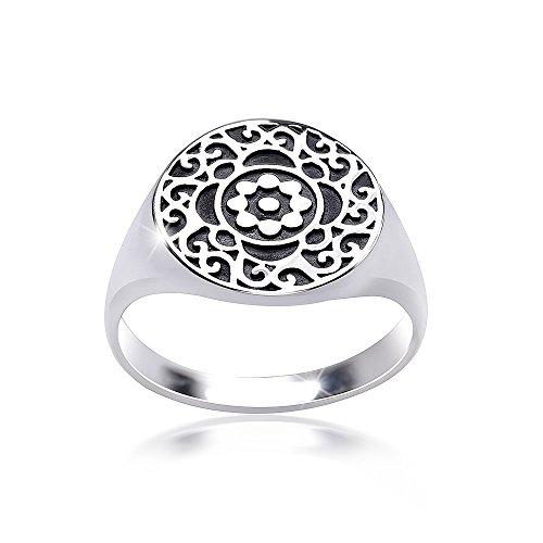 MATERIA Damen Ring Siegelring Blüte floral 925 Silber antik breit deutsche Fertigung #SR-119, Ringgrößen:57 (18.1 mm Ø)