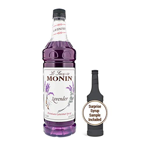 Monin - Lavender Syrup, Aromatic and Floral, Natural Flavors, Great for Cocktails, Lemonades, and Sodas, Vegan, Non-GMO, Gluten-Free (1 Liter + 50ml Sample)