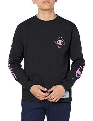[チャンピオン] ロングTシャツ 長袖Tシャツ 綿100% クルーネック 袖ロゴプリント グラフィックロゴプリント ジョックタグ C3-R402 メンズ ブラック XL