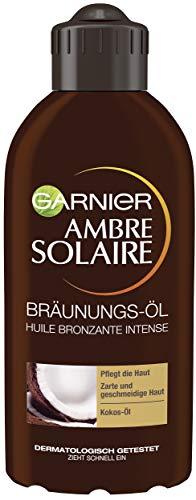 Garnier Ambre Solaire Tiefbraun Bräunungs-Öl, Selbstbräuner mit Kokosöl, Bräunungsbeschleuniger, Sonnenöl in Gold, 200 ml