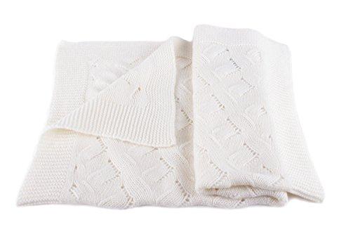 Love Cashmere Luxus 100% Kaschmir Babydecke - 'Weiß' - Handgefertigt in Schottland UVP €280