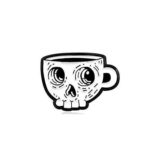 Nueva copa con forma de esqueleto blanco, broche de copa esmaltada, taza de terror con ojos grandes, personalidad creativa, insignia de solapa de cuero de mezclilla para Halloween