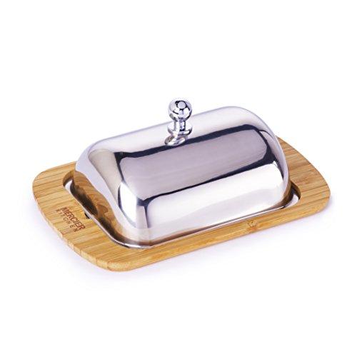 Mercier Kitchen MERCIER - Mantequera de bambú y acero inoxidable con tapa de acero inoxidable