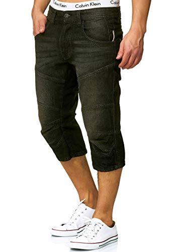 Indicode Herren Fortune 3/4 Jeans Shorts mit 5 Taschen aus 98% Baumwolle   Kurze Denim Stretch Sommer Hose Used Look Washed Regular Fit Men Short Pants Freizeithose für Männer Black L