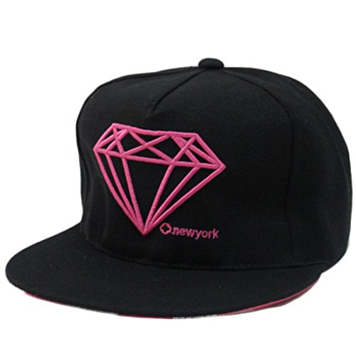 Belsen Damen Diamant Muster Cap Baseball Hut Snapback Trucker Hat (Rose red)