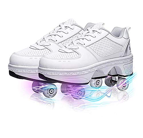 LDTXH Deformation Invisible Roller Skate Automatic Walking Shoes, 2-in-1 Parkour Shoes/Inline Roller Skating Shoes, Double-Row Quad Roller Skates Outdoor Sports Kick Rollershoes,5.5