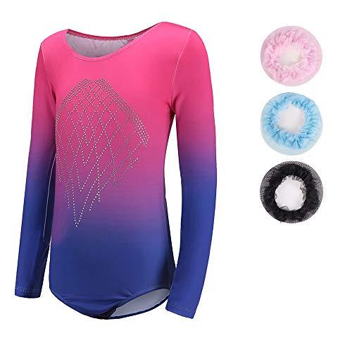 Maillot de gimnasia para niñas de manga larga, sin mangas, para bailar, ballet, gimnasia, para niñas de 5 a 14 años, diseño de diamantes brillantes, Tag 12A(11-12 years), Blue+Rose-long sleeve