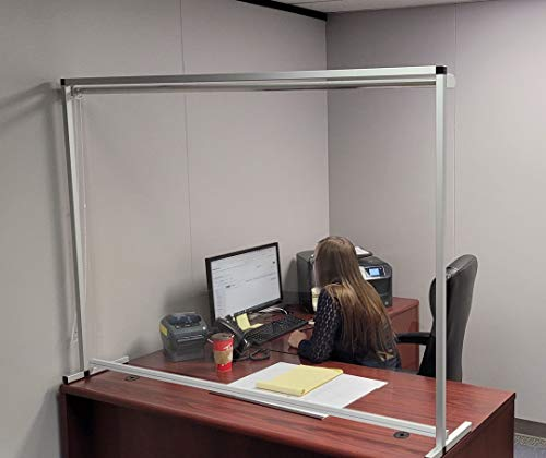 Sneeze Guard | Height Adjustable Sneeze Guard | Clear Plastic Protection Freestanding Barrier | Counter top Desk Shield (60' X 36')