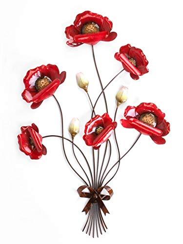 Wandzweig \'Mohnblume\', 66 cm, rot