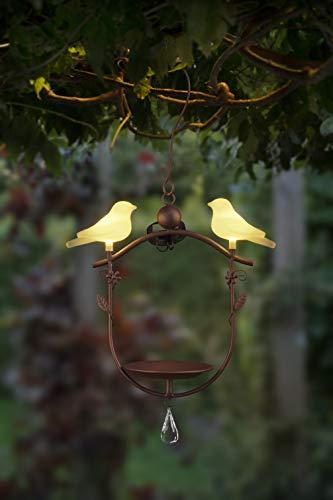Bonetti Vogeltränke mit LED-Vogel-Paar | hängend | aus Metall | solarbetrieben | warm-weiß beleuchtet