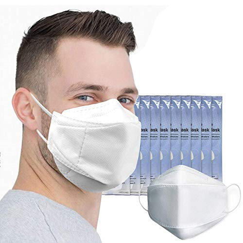 [10 PACK] White Disposable 4-Layers Face Safety Mask with Ear Loop for Adult Individually Packaged KF 94 Disposable Face Masks