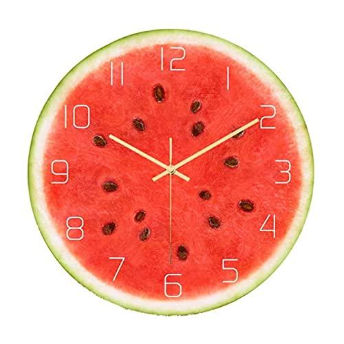 NOBGP Reloj de Pared de Fruta de sandía de acrílico de impresión, Reloj de Pared silencioso sin tictac con Digital, para Dormitorio/Decoración de Arte Decorativo para el hogar, sin batería