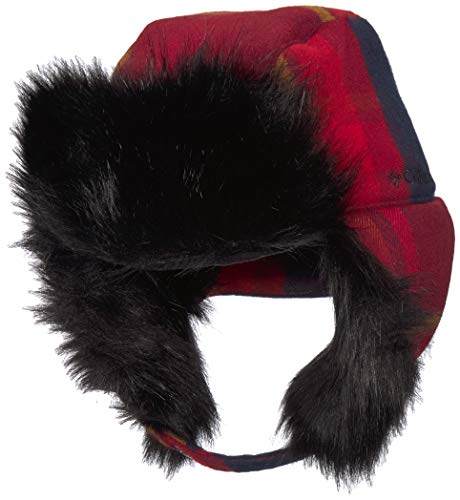 Columbia Men's Winter Challenger Trapper, red jasper large plaid, Small/Medium
