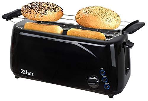 Toaster Langschlitz | 4 Scheiben | 1400 Watt Toastautomat | 5-Stufen Bräuneregler | XXL Toaster | Brötchenaufsatz | Auftau-Funktion | Krümmelschublade |