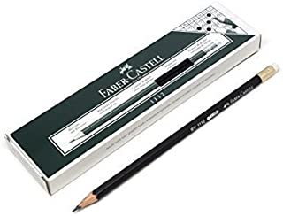 Faber Castell Black Lead Pencils with Eraser Tip 2B Grip Graphite Pencils for Writing, Drafting and Sketching (Box of 12)