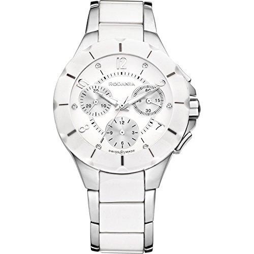 Rodania 24900–40–Uhr für Frauen, Edelstahl-Armband Weiß