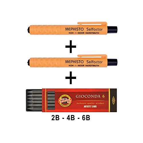 KOH-I-NOOR Mephisto 5301 - Lápiz de plástico sin sacapuntas - juego de 3, diámetro mina de lápiz 5,6 mm - 2 x NARANJA y paquete mixto de 6 x minas 2B, 4B, 6B