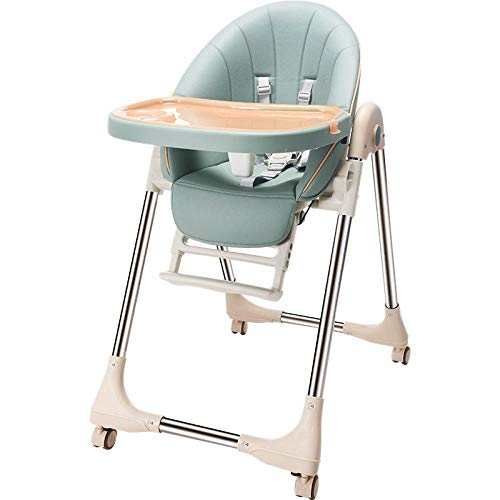 WALLHANG KaO0YaN,Space Saver Baby High Chair, for Baby Multifunctional Baby Feeding Chair, with Adjustable Tray Easy to Clean, Safety Portable, with Soft Seat-4 Wheels(Green)