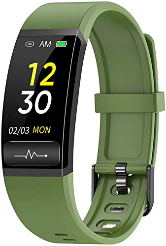 LLDKA Smart Watch, Pulsera Inteligente Temperatura Corporal Monitoreo de Salud Análisis electrocardial IP67 Rastreador Deportivo Impermeable,Verde