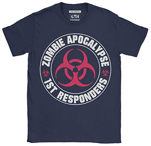 Zombie Apocalypse T Shirt First Responder Gamer Horror Movie top - Navy Blue - Large