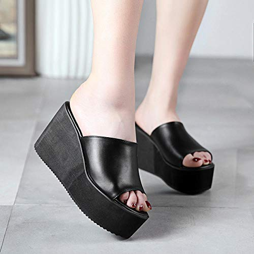 ypyrhh Sommer Slip On Memory Foam,Hochhackige Hausschuhe mit eckigen Zehen,super hochhackige Flip-Flops aus Leder,schwarz_36,Perfekte 10 Open Toe Sandalen,