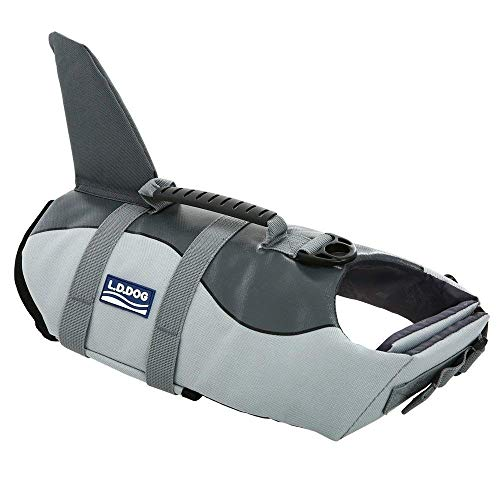 Queenmore Ripstop Dog Life Jacket Fish Style Floatation Vest with Adjustable Soft Rubber Handle Grey Shark,XL