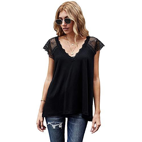 Camisetas sin Mangas de Encaje para Mujer Chaleco de Patchwork con Cuello en V Camisas sin Mangas de Ganchillo (Negro, M)