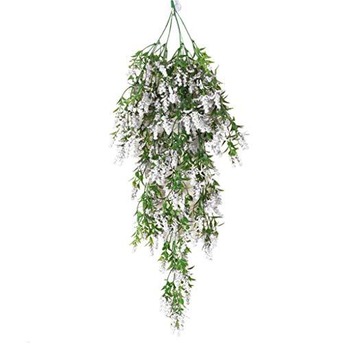 Dserw Artificial Flower Vine, Artificial Lavender Fake Flower Wall Hanging Vine Rattan Wedding Party Decor - White
