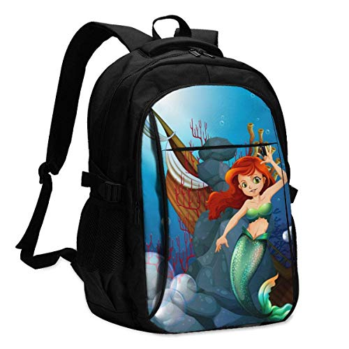 XCNGG Stone Canvas Mermaid Travel Laptop Backpack College School Bag Casual Daypack with USB Charging Port