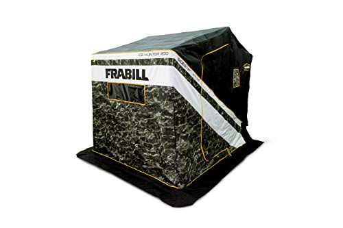 Frabill Ice Hunter Sidestep 200 | Insulated Ice Fishing Flip Over Shelter with Boat Seats Mossy Oak Elements Blacktip, 20 Sq. Ft