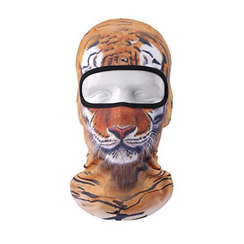 VERTAST Mascarilla Balaclava, Nuevo Diseño 3D Animal Activo Máscara Completa para Esquí Ciclismo Motociclista Trazador de líneas del Senderismo Camping Cuello Calentador, Tigre