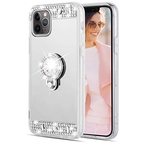 Caka Glitzer-Hülle für iPhone 11 Pro Max Spiegel Hülle mit Ringhalter Kickstand für Mädchen Frauen Bling Shining Strass Diamant Luxus Make-up Hülle für iPhone 11 Pro Max (6,5 Zoll) (Silber)