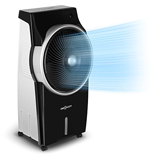 oneConcept Kingcool – 4 en 1, ventilador, enfriador de aire, humidificador, limpiador de aire, ionizador, depósito de agua de 8 litros, caudal de 2340 m³/h, 95 W, oscilación, portátil, ébano