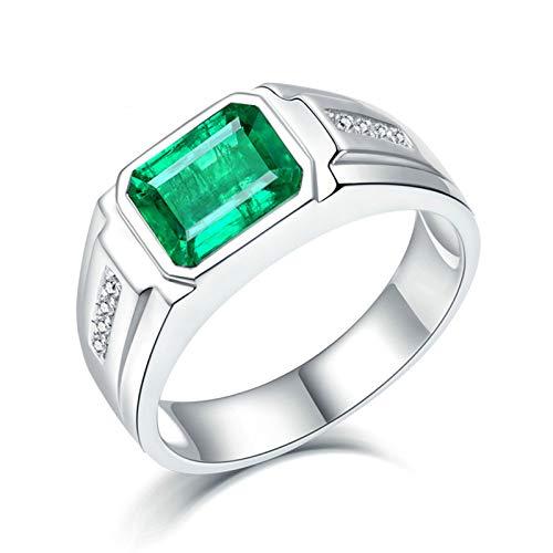 KnSam Mujer Unisex AU750 oro blanco 18 quilates (750) esmeralda verde Emerald