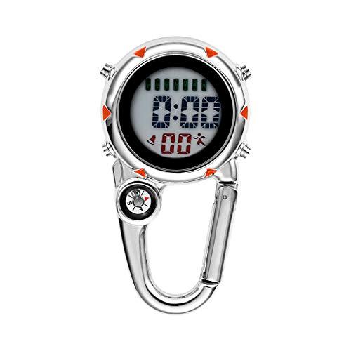 Conijiwadi Mosquetón Reloj Digital LCD Sports Clip Watch Metal Luminoso Cinturón Mochila Decoración Temporizador