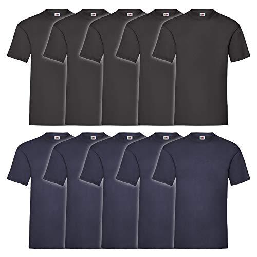 Fruit of the Loom Herren T-Shirt Valueweight, 10er Pack, Mehrfarbig (Schwarz/Marineblau), XXXXX-Large