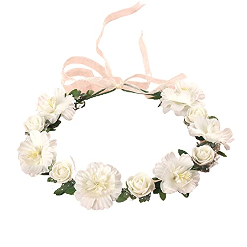Diadema de flores Niza Mirando Ajustable Mujeres Artificial Niña Flor Corona Corona para Boda - Blanco