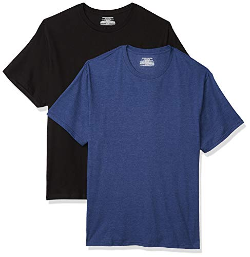 Amazon Essentials Men's Big & Tall 2-Pack Short-Sleeve Crewneck T-Shirt fit by DXL, Black/Navy Heather, 4X Tall